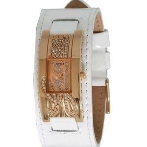 Guess Women Watch Cuff Bracelet White Rose Gold